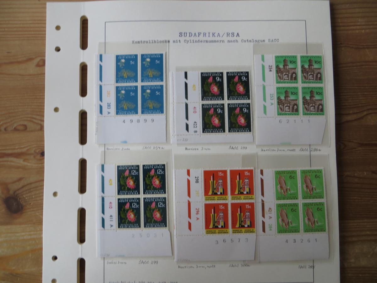 Südafrika Top - Spezial Sammlung von Kontrollblöcken mit Cylindernummern auf  10
