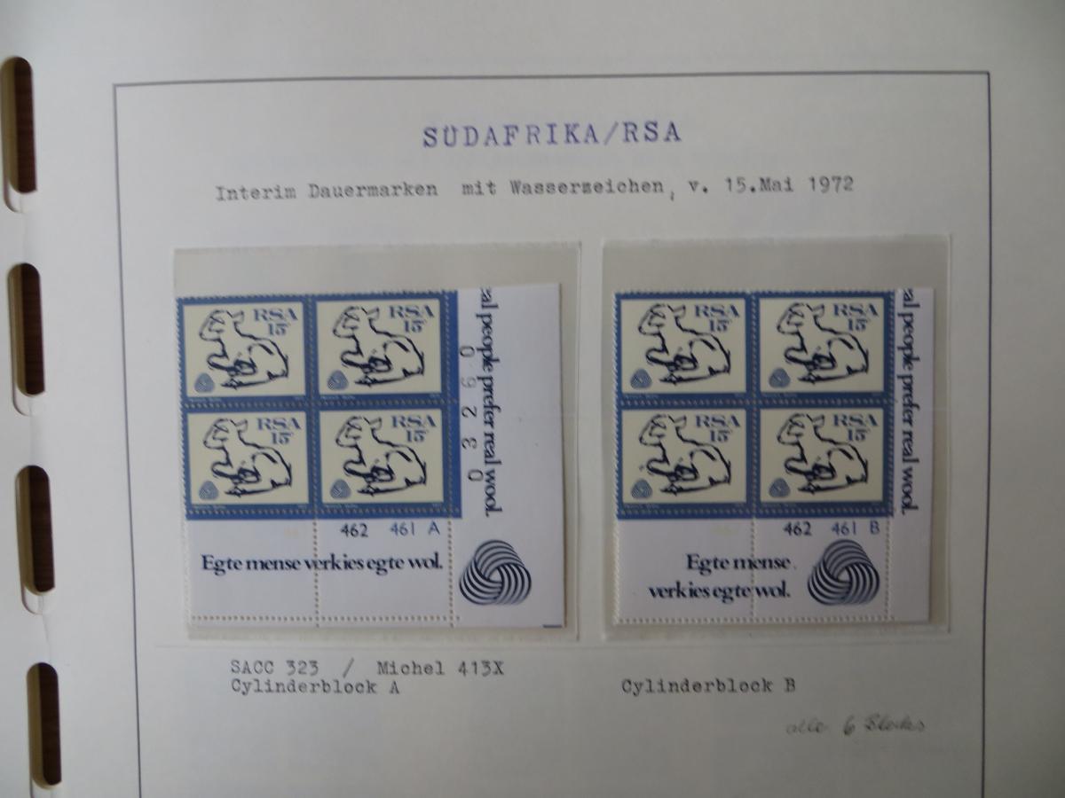 Südafrika Top - Spezial Sammlung von Kontrollblöcken mit Cylindernummern auf  11