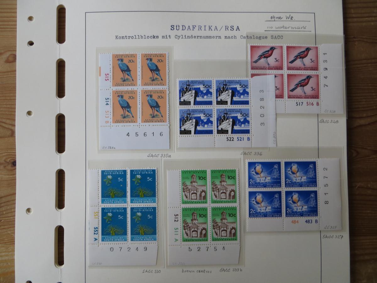 Südafrika Top - Spezial Sammlung von Kontrollblöcken mit Cylindernummern auf  12