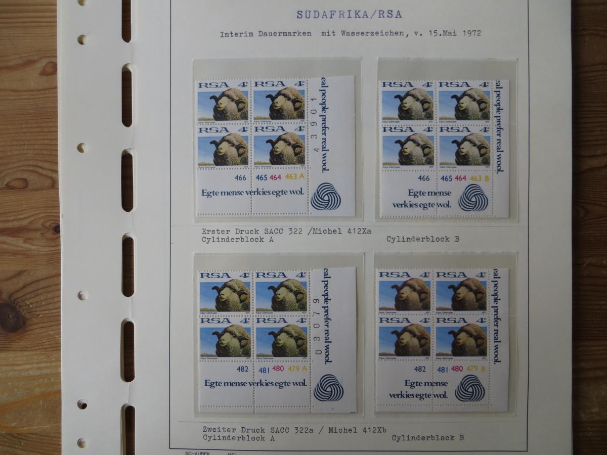 Südafrika Top - Spezial Sammlung von Kontrollblöcken mit Cylindernummern auf  14