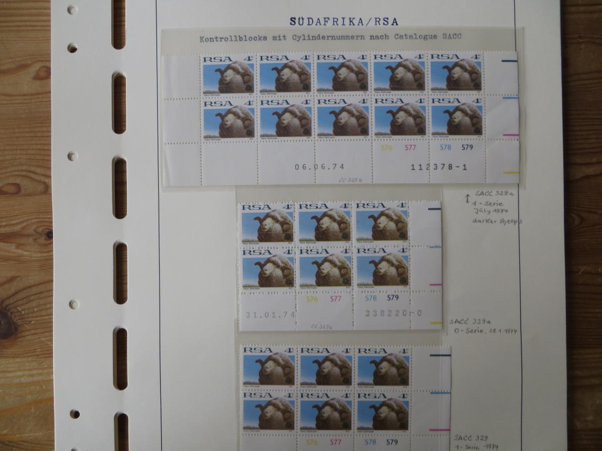 Südafrika Top - Spezial Sammlung von Kontrollblöcken mit Cylindernummern auf  15
