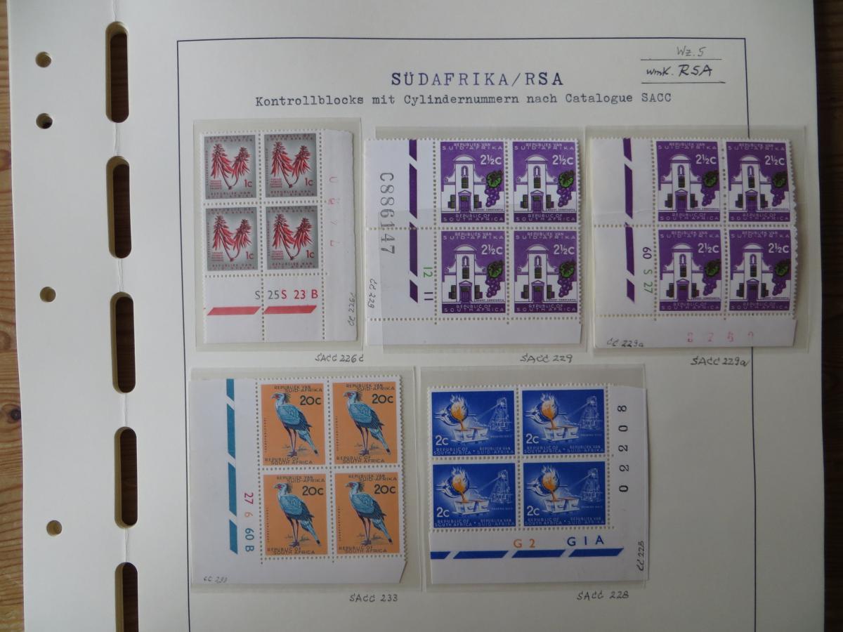 Südafrika Top - Spezial Sammlung von Kontrollblöcken mit Cylindernummern auf  5