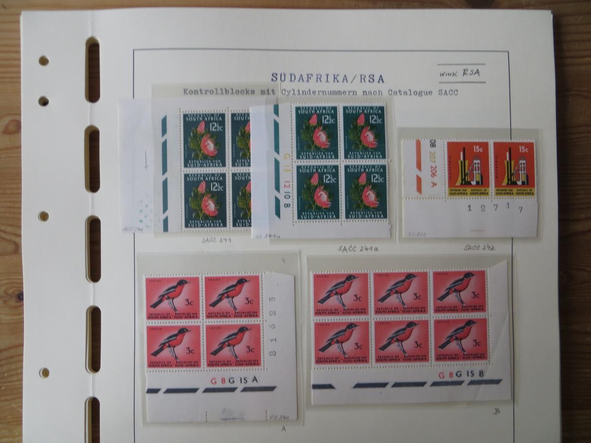 Südafrika Top - Spezial Sammlung von Kontrollblöcken mit Cylindernummern auf  6