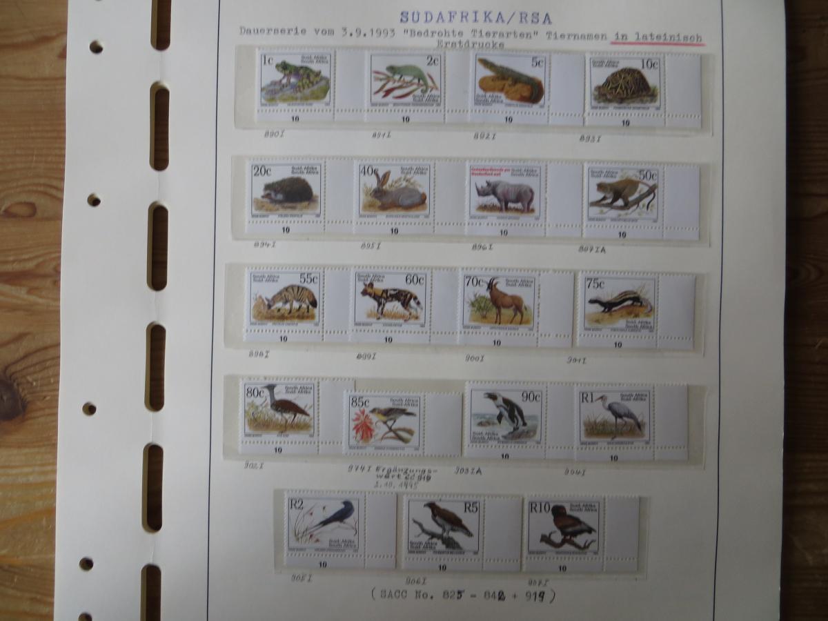 Südafrika Spezial Sammlung Bedrohte Tiere sehr vielfältig mit Erstdrucken Papier 0