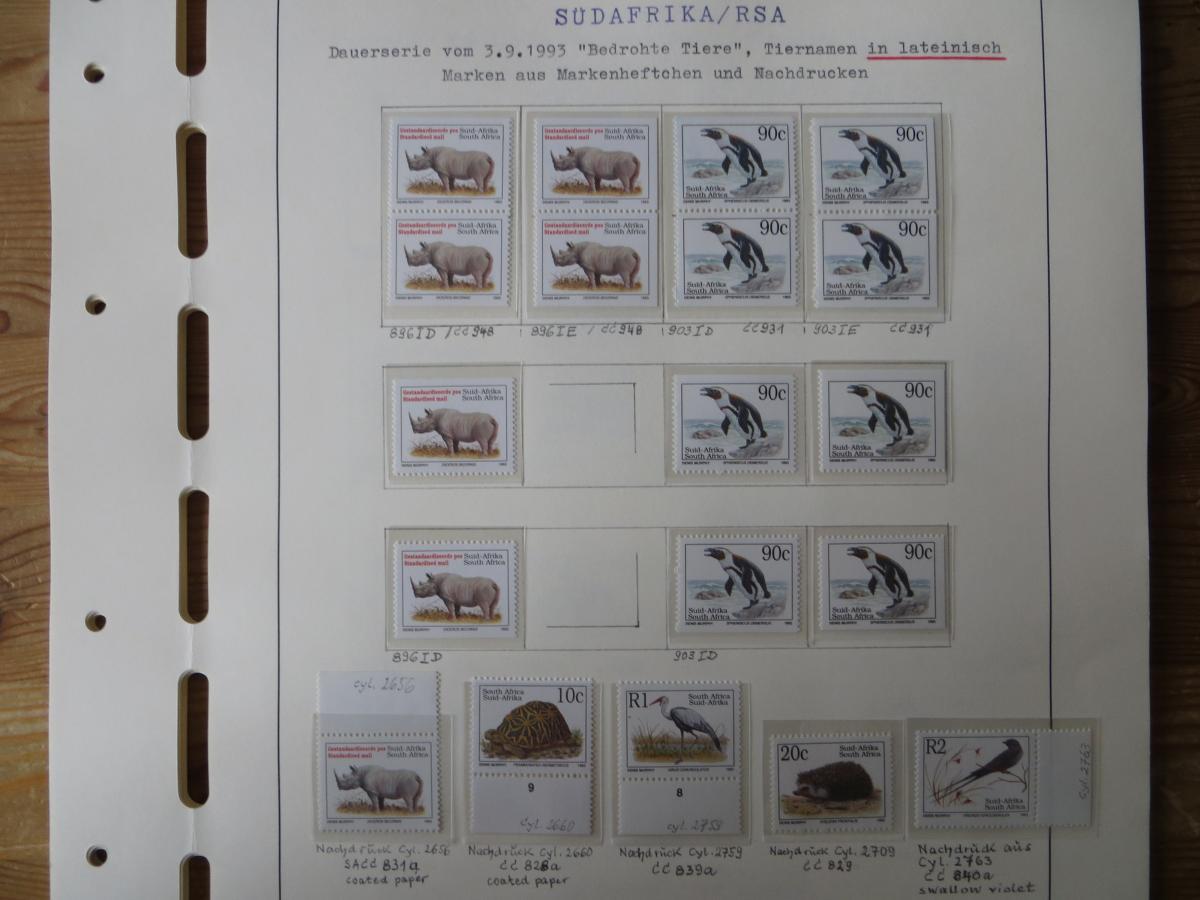 Südafrika Spezial Sammlung Bedrohte Tiere sehr vielfältig mit Erstdrucken Papier 1