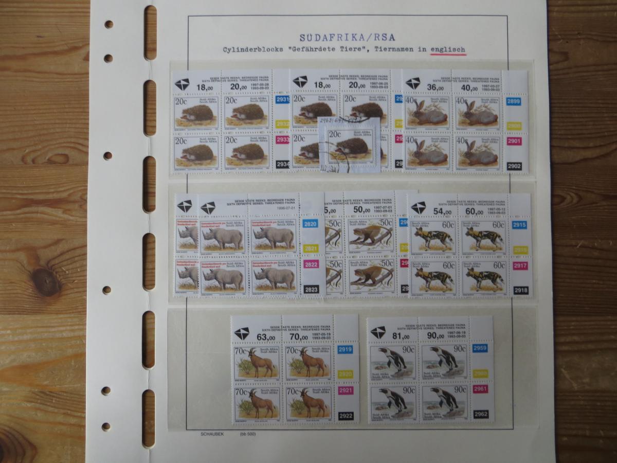Südafrika Spezial Sammlung Bedrohte Tiere sehr vielfältig mit Erstdrucken Papier 11