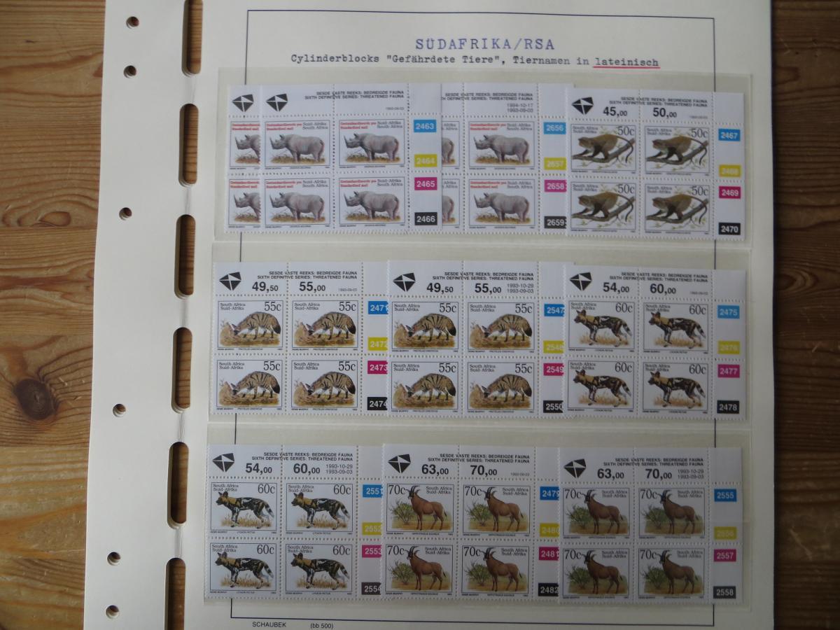 Südafrika Spezial Sammlung Bedrohte Tiere sehr vielfältig mit Erstdrucken Papier 8
