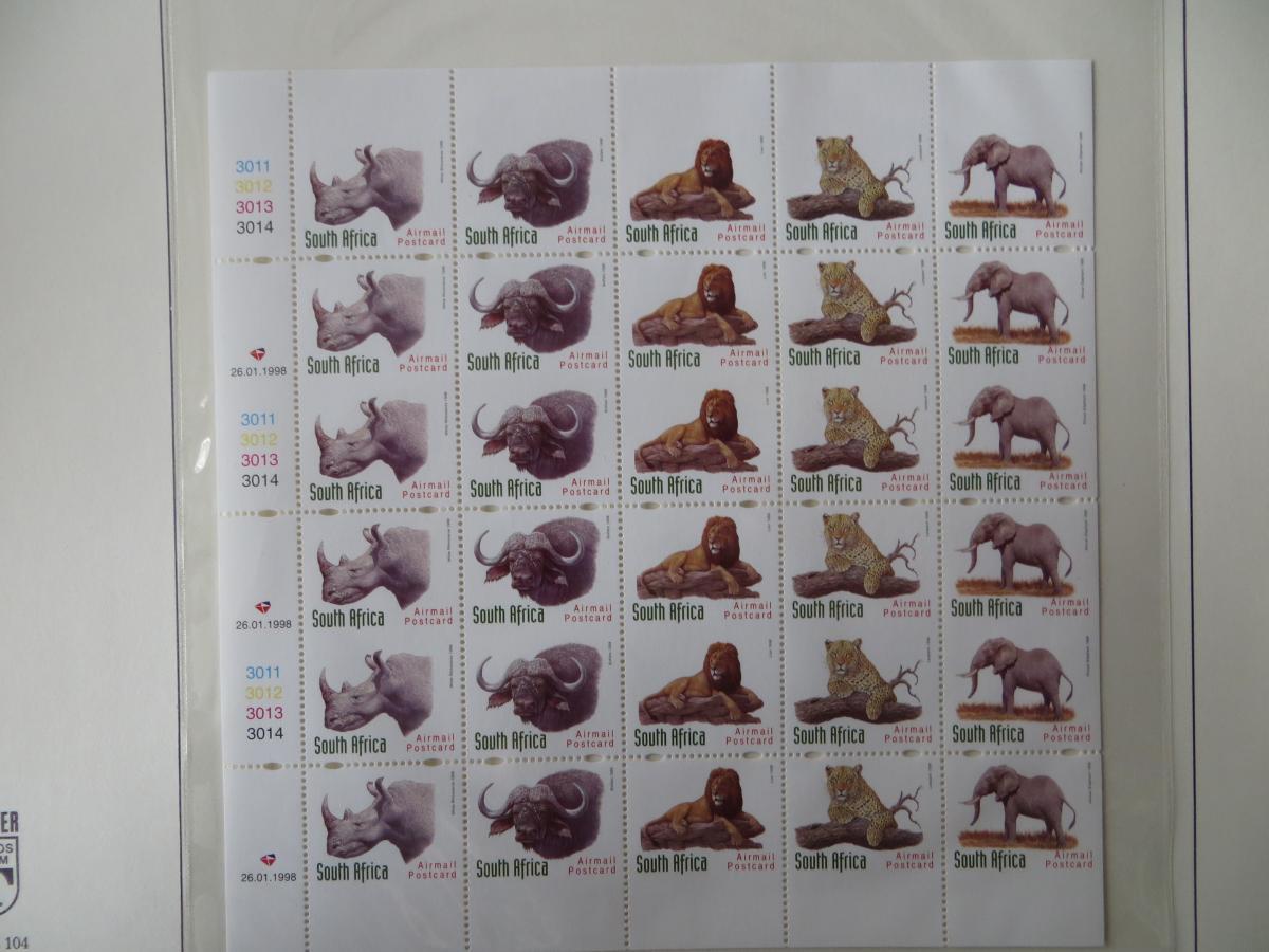 Südafrika 1117-1121 Tiere kompl. Markenheftchenbogen Vollphosphor Controllstrips 0