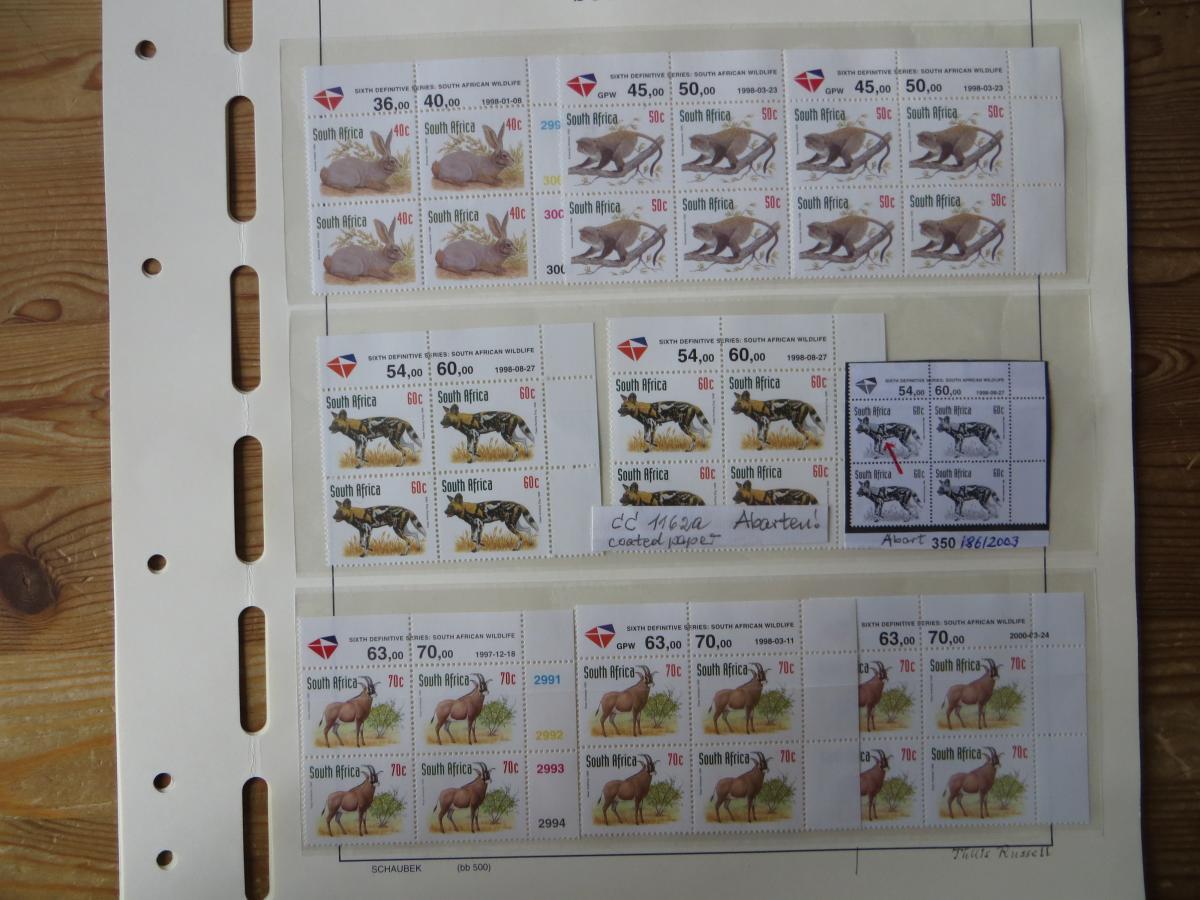 Südafrika 1100-4 Vögel Tiere Spezial Lot mit Blöcken der verschied. Druck Papier 3