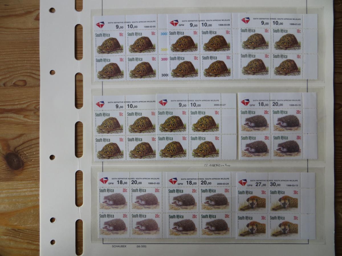 Südafrika 1100-4 Vögel Tiere Spezial Lot mit Blöcken der verschied. Druck Papier 4