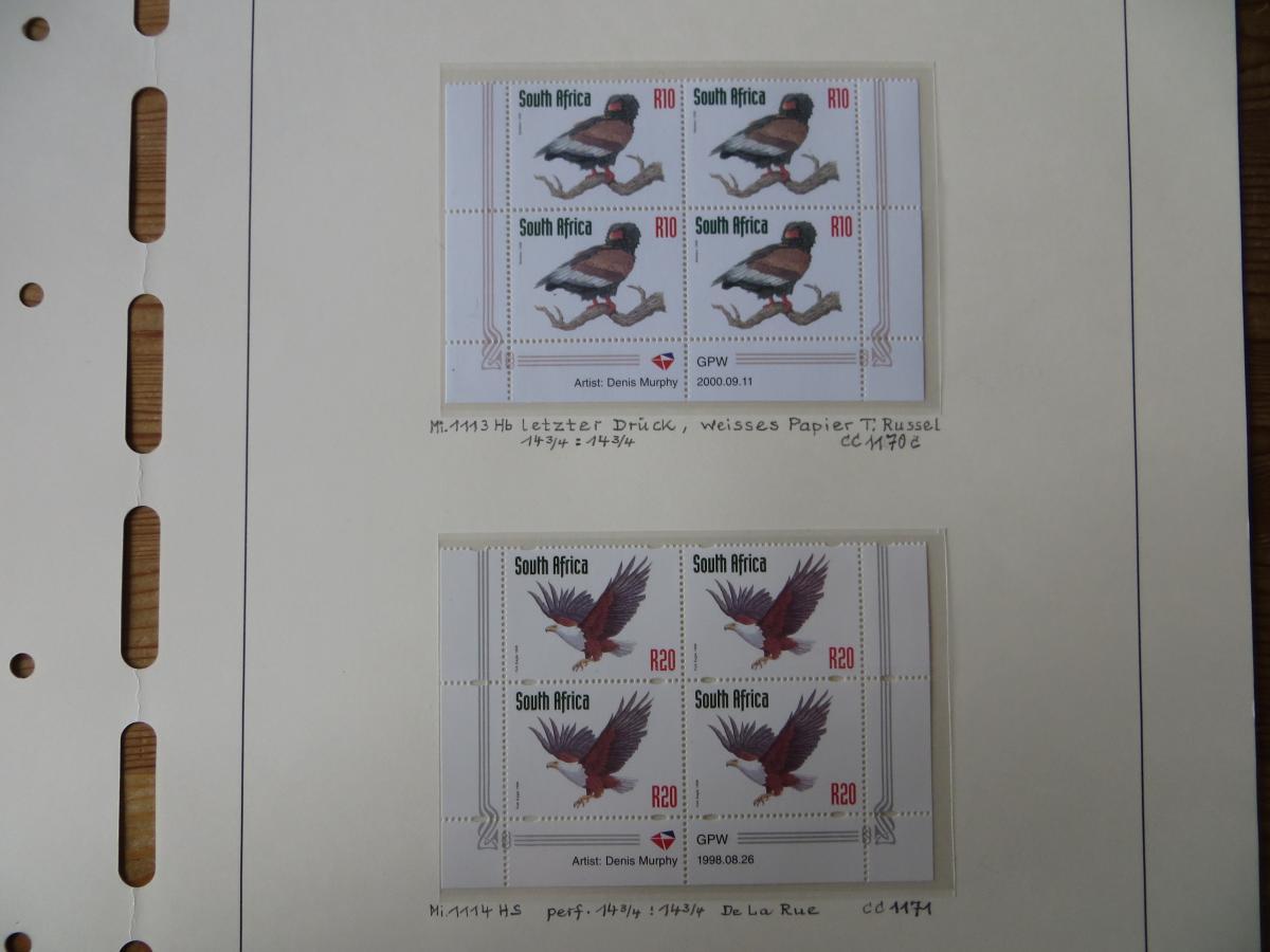 Südafrika 1100-4 Vögel Tiere Spezial Lot mit Blöcken der verschied. Druck Papier 5