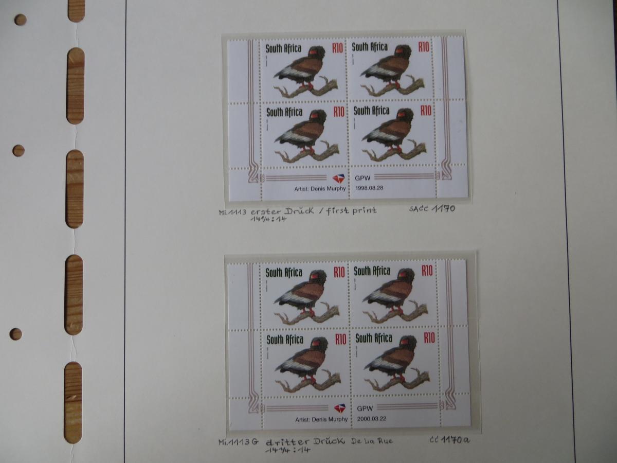 Südafrika 1100-4 Vögel Tiere Spezial Lot mit Blöcken der verschied. Druck Papier 6