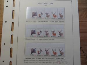 Südafrika 1124-8 Tiere Spezial Lot Versuchsdrucke mit Streifen in selt. Papieren