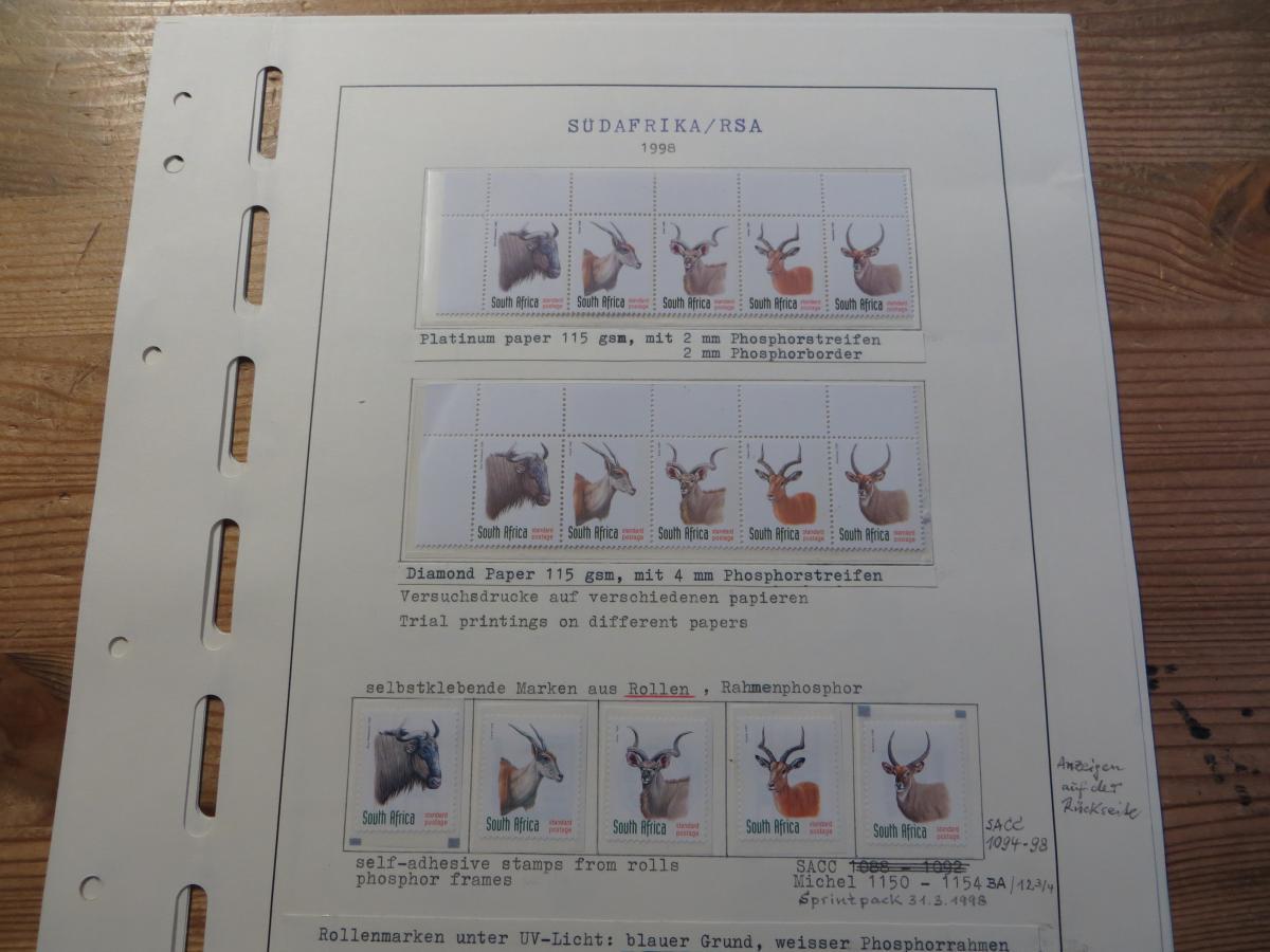 Südafrika 1124-8 Tiere Spezial Lot Versuchsdrucke mit Streifen in selt. Papieren 1