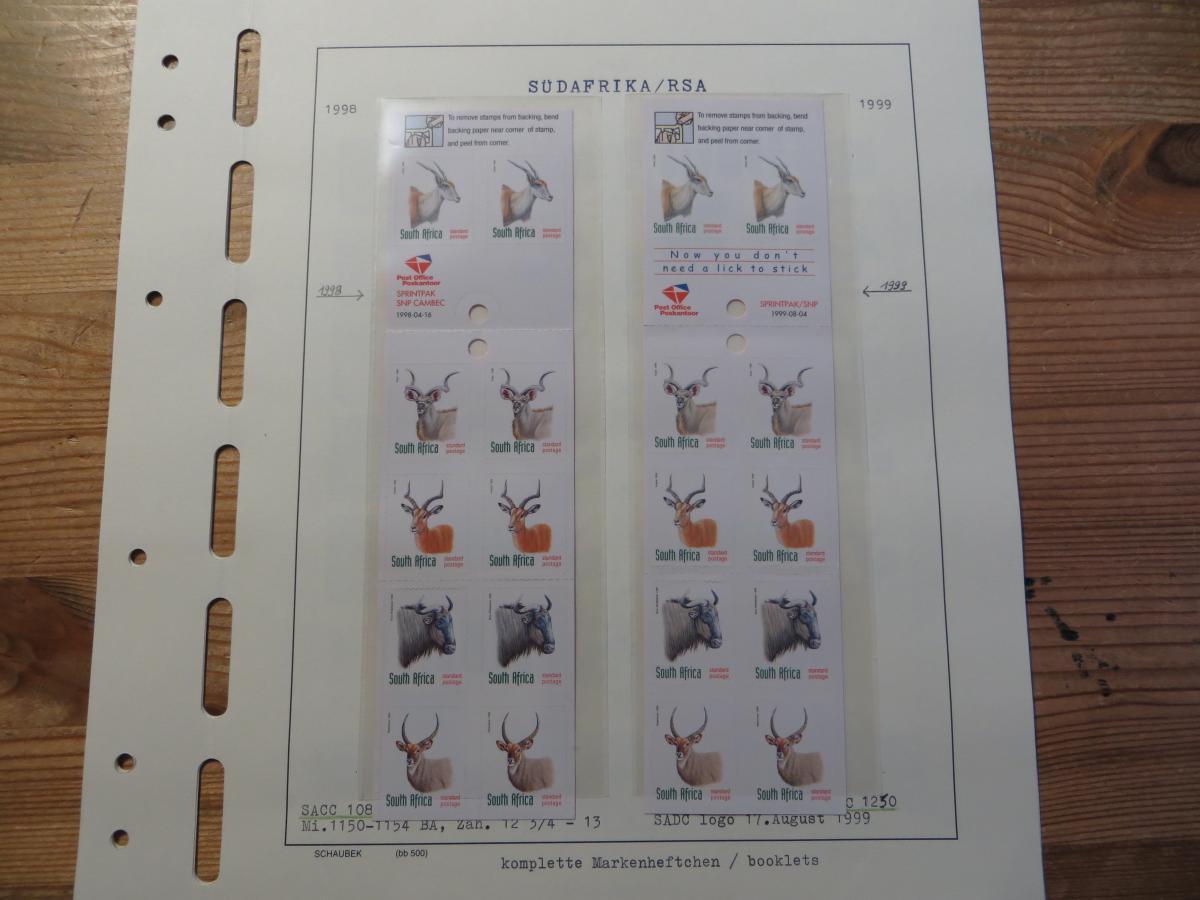 Südafrika 1124-8 Tiere Spezial Lot Versuchsdrucke mit Streifen in selt. Papieren 2
