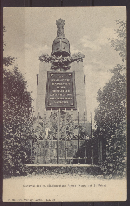 Militaria Ansichtskarte Denkmal 12. Armee Korps Sachsen St Privat Verlag Müller  0