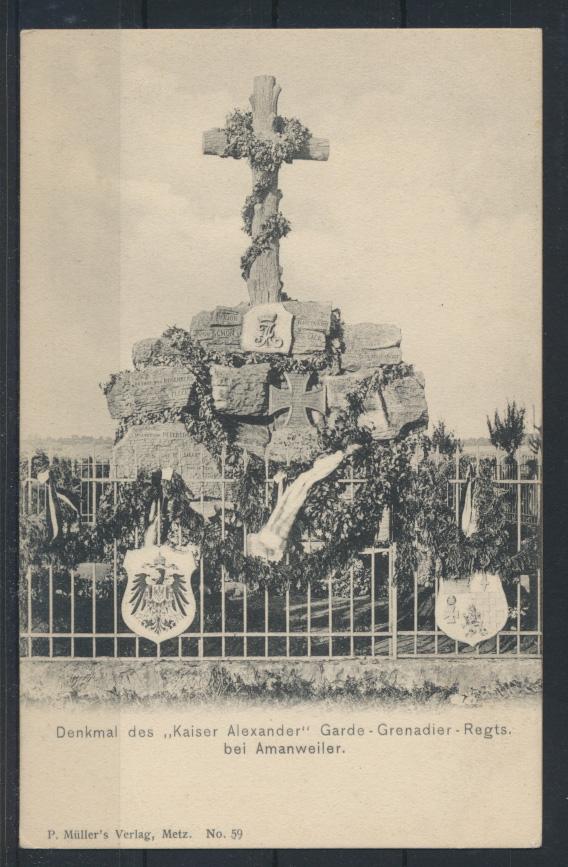 Militaria Frankreich Denkmal Kaiser Alexander GardeGrenadier Regiment Amanweiler 0