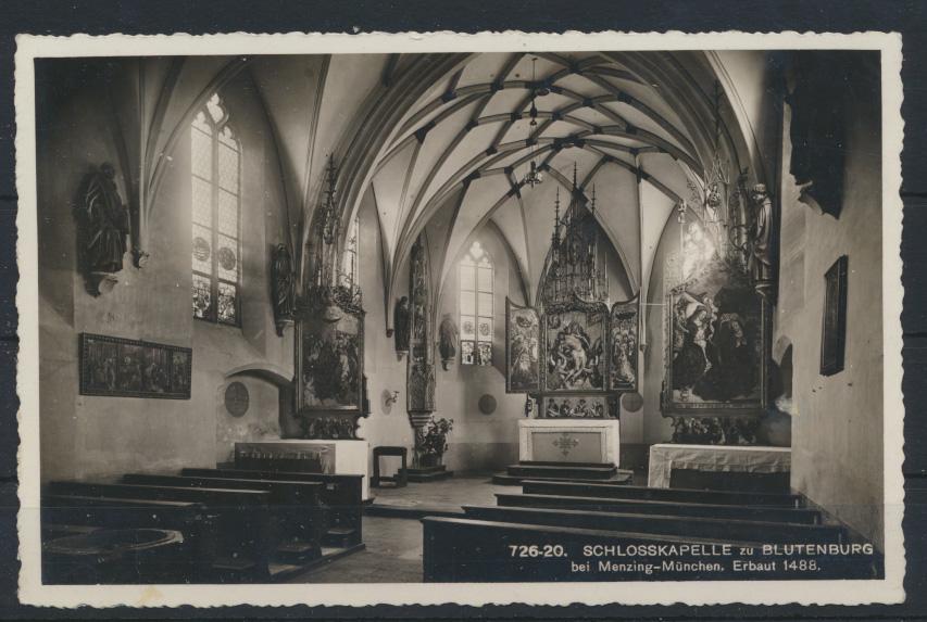 Ansichtskarte Schloßkapelle Blutenburg Menzing München Fahnenstempel Dt. Reich  1
