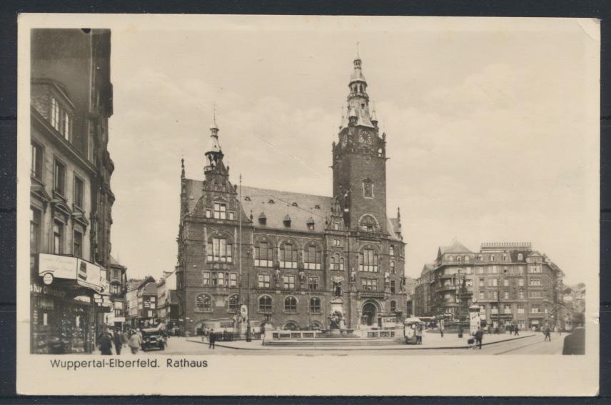 Ansichtskarte Wuppertal Elberfeld Rathaus 1951 nach Belin Buckow Neukölln 0