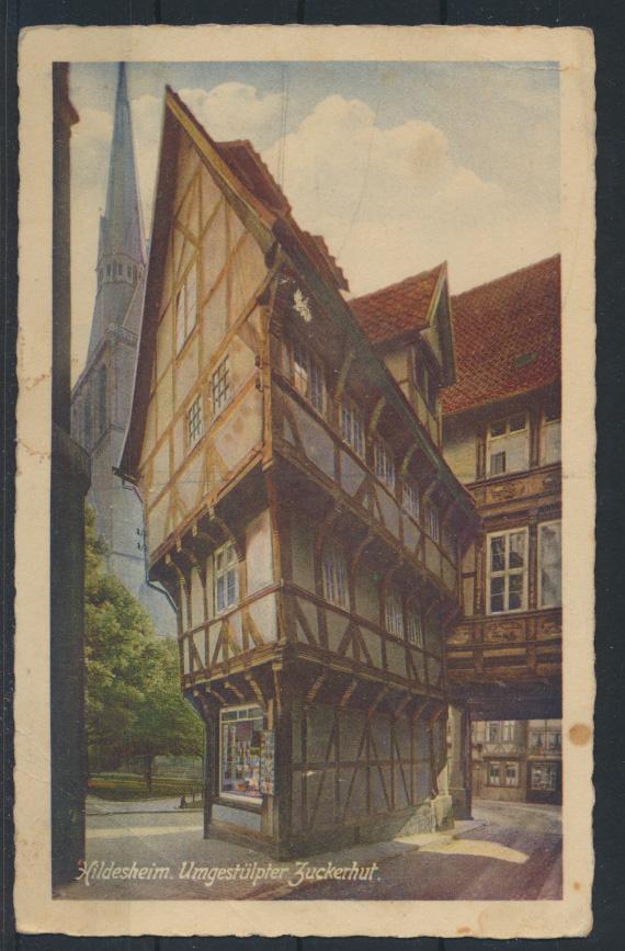 Ansichtskarte Hildesheim Niedersachsen Umgestülpter Zuckerhut Fachwerk Häuser 0