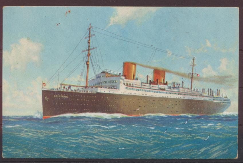 Ansichtskarte Schifffahrt Norddeutscher Lloyd Doppelschrauben Dampfer Columbus 0