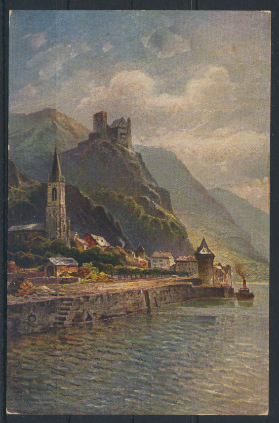 Ansichtskarte Burg Karz Hangburg in St. Goarshausen Rhein Rheinland-Pfalz. 0