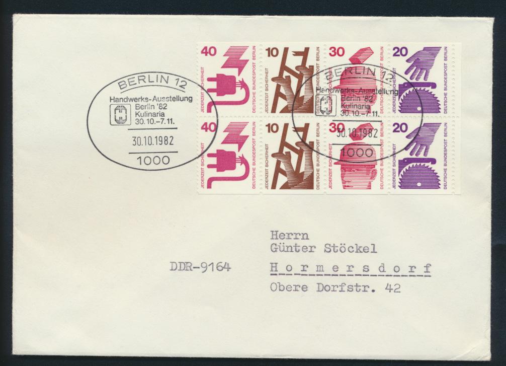 Berlin Brief H-Bl.17 Rand Heftchenblatt Zusammendruck SST Berlin Handwerk  0