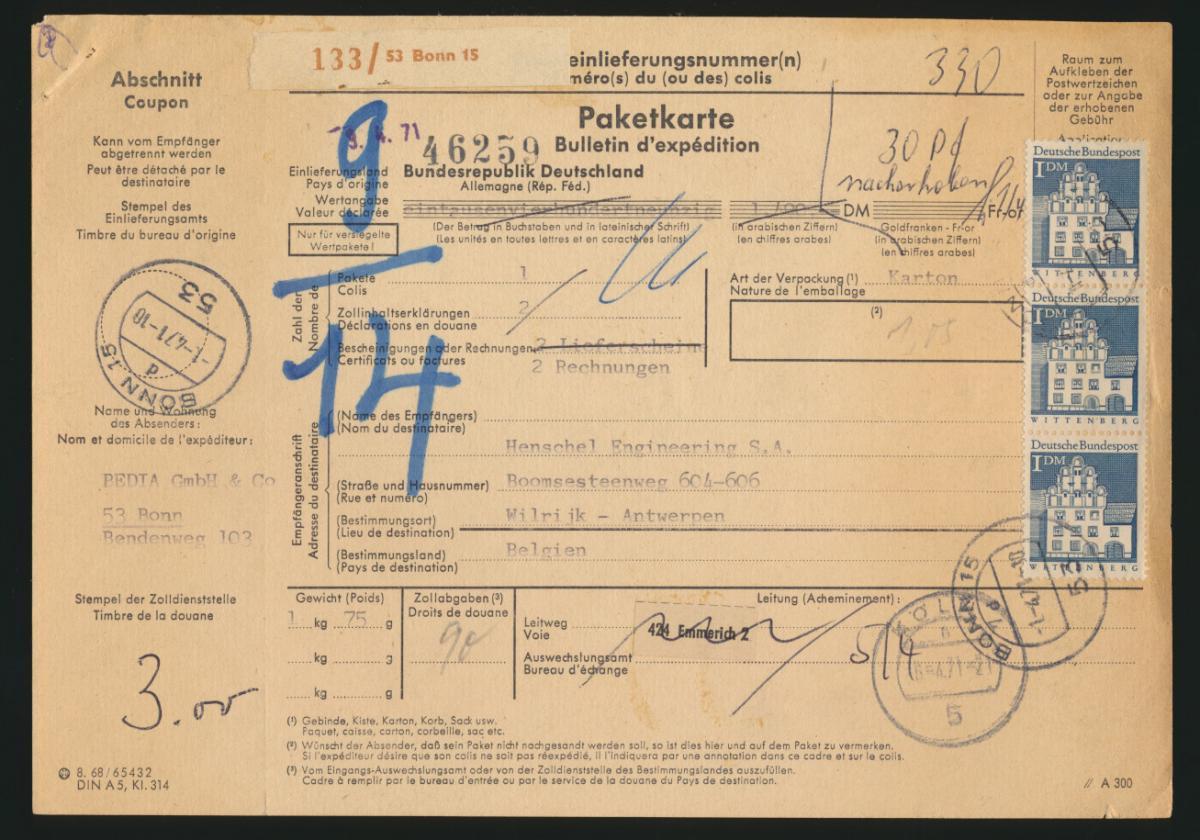 Bund Brief MEF 500 Bauwerke auf Paketkarte Bonn nach Wilrijk Antwerpen Belgien 0