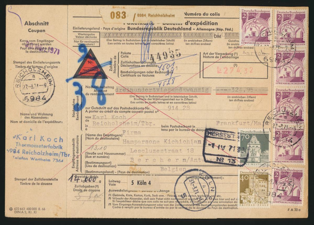 Bund Brief MIF 500 Bauwerke 503 Paketkarte 13,10 Reichholheim Berchern Antwerpen 0