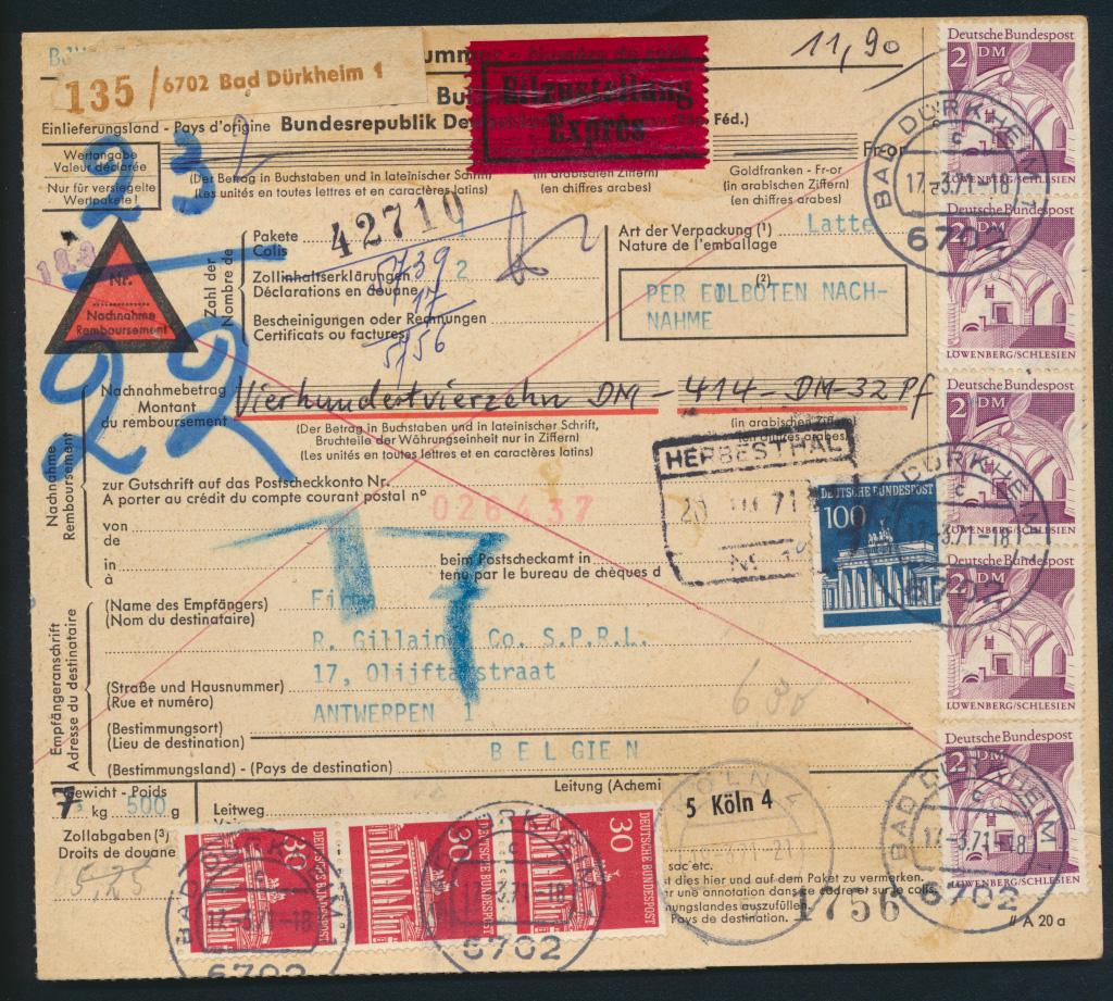 Bund Brief Bauwerke 503 Brandenburger Express Paketkarte 11,9 Dürkheim Antwerpen 0