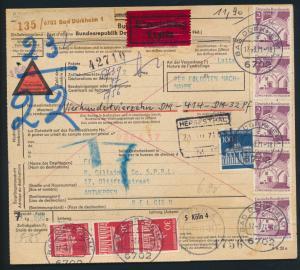 Bund Brief Bauwerke 503 Brandenburger Express Paketkarte 11,9 Dürkheim Antwerpen