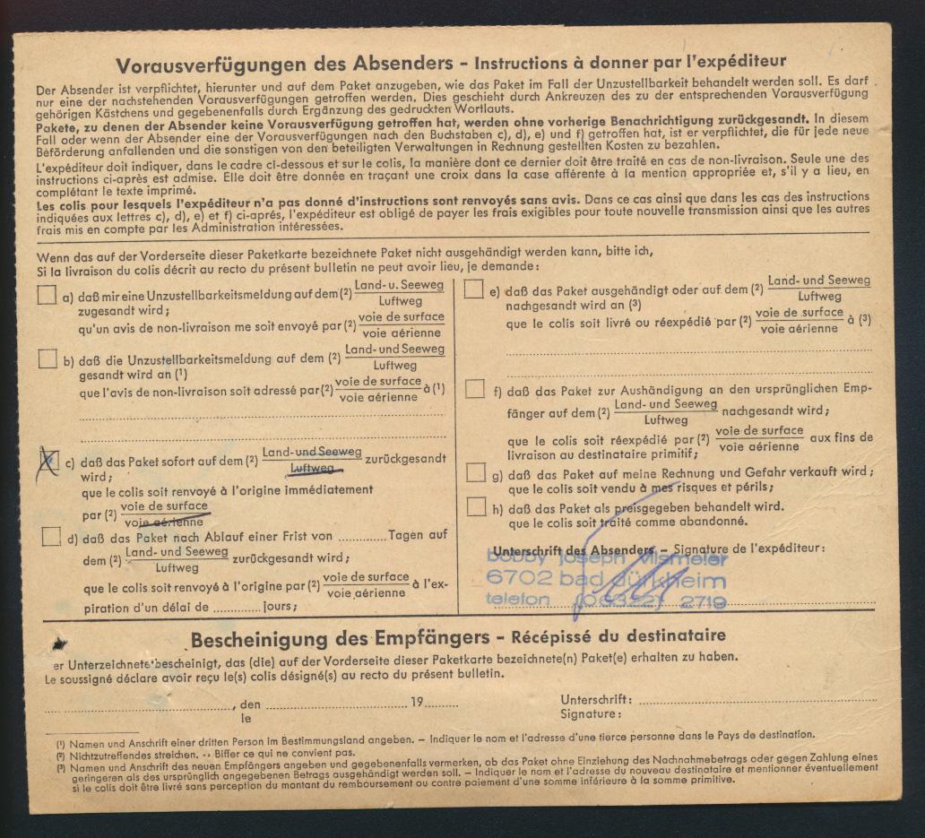 Bund Brief Bauwerke 503 Brandenburger Express Paketkarte 11,9 Dürkheim Antwerpen 1