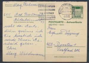 Bund Ganzsache P 98 A Antwort Kreuznach nach Dorsten 23.2.1971