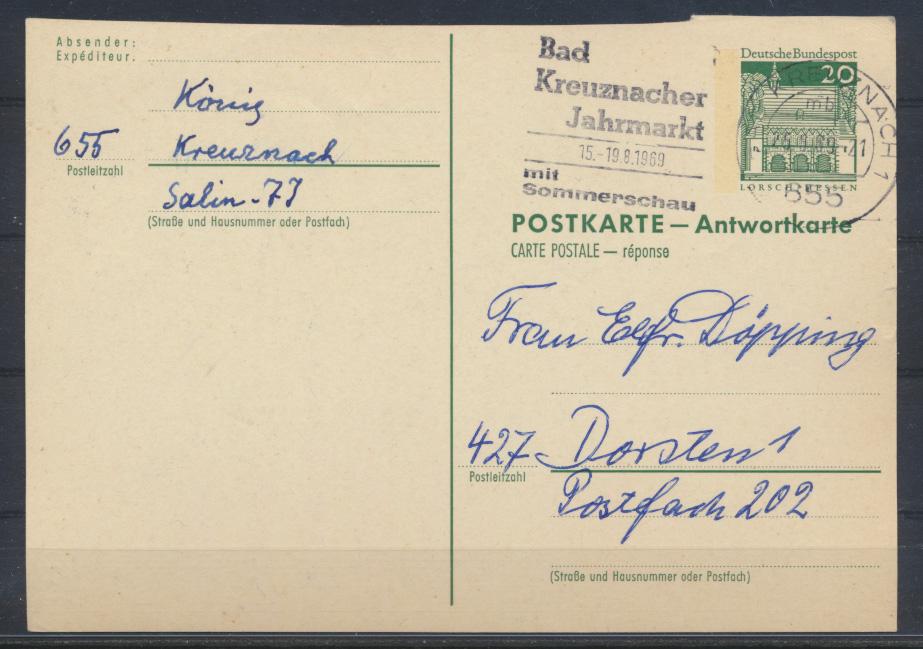 Bund Ganzsache P 94 A Antwort Kreuznach nach Dorsten 25.8.1959 0