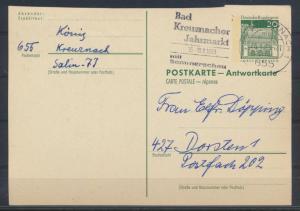 Bund Ganzsache P 94 A Antwort Kreuznach nach Dorsten 25.8.1959