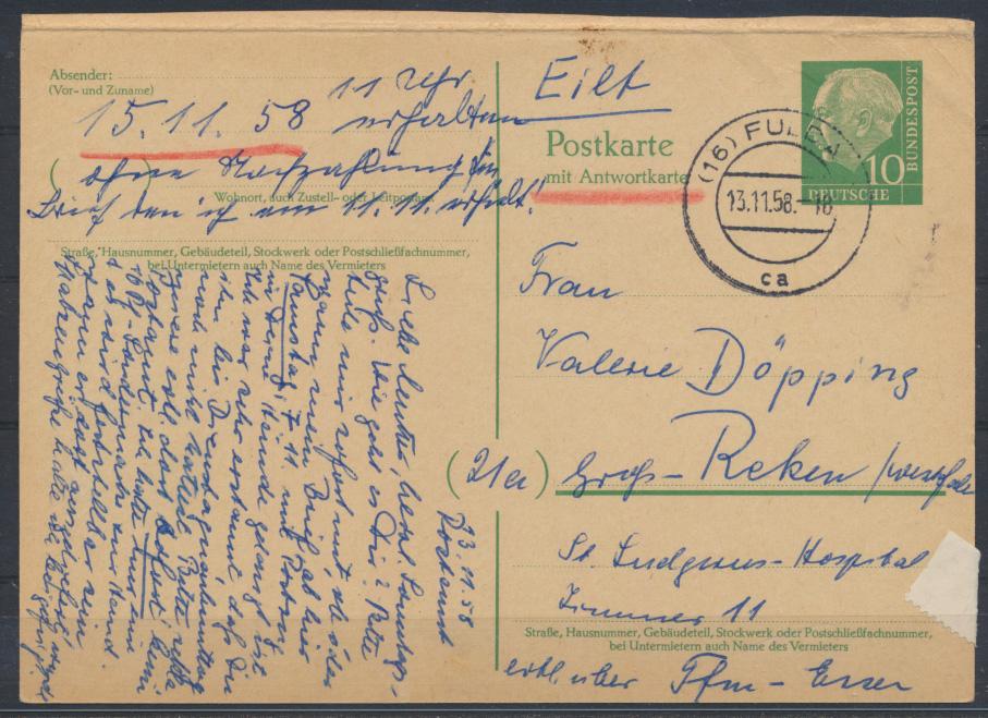 Bund Ganzsache P 33 F Heuss Frageteil Fulda nach Groß Reken 13.11.1958 0