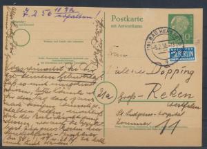 Bund Ganzsache P 28 F Heuss Frageteil Hersfeld nach Groß Reken 26.9.1958