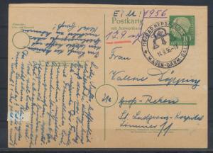 Bund Ganzsache P 28 F Heuss Frageteil Hersfeld nach Groß Reken 14.9.1956