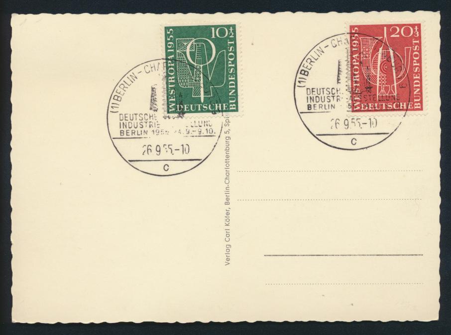 Bund 217-218 Westropa Briefmarkenausstellung SST Berlin Industrie-Ausstellung  0