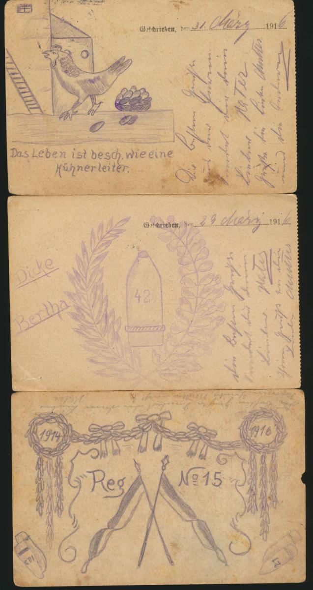 11 Feldpost Ansichtskarten Regiment 15 alle handgemalt I. Weltkrieg nach Essen 0