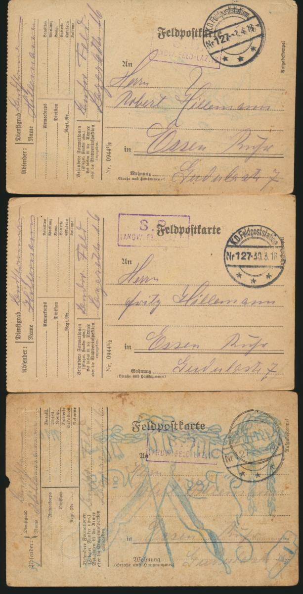 11 Feldpost Ansichtskarten Regiment 15 alle handgemalt I. Weltkrieg nach Essen 1