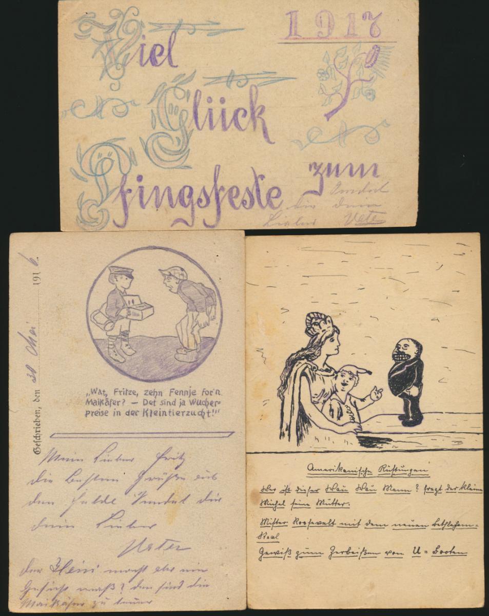 11 Feldpost Ansichtskarten Regiment 15 alle handgemalt I. Weltkrieg nach Essen 2