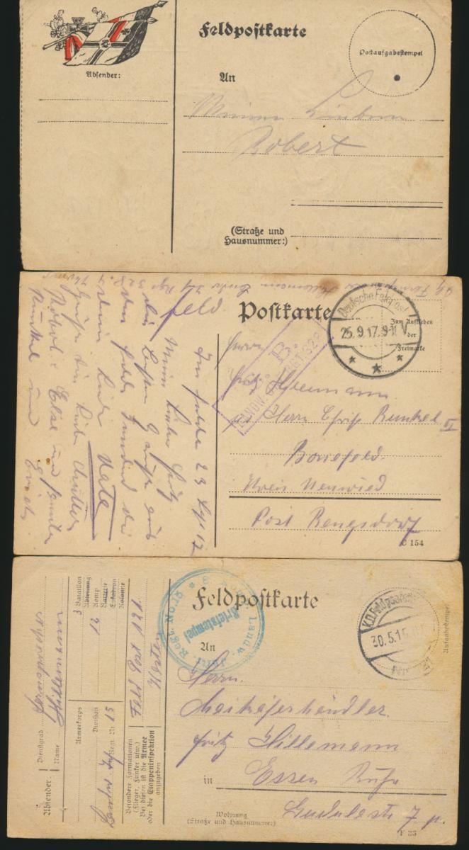 11 Feldpost Ansichtskarten Regiment 15 alle handgemalt I. Weltkrieg nach Essen 3