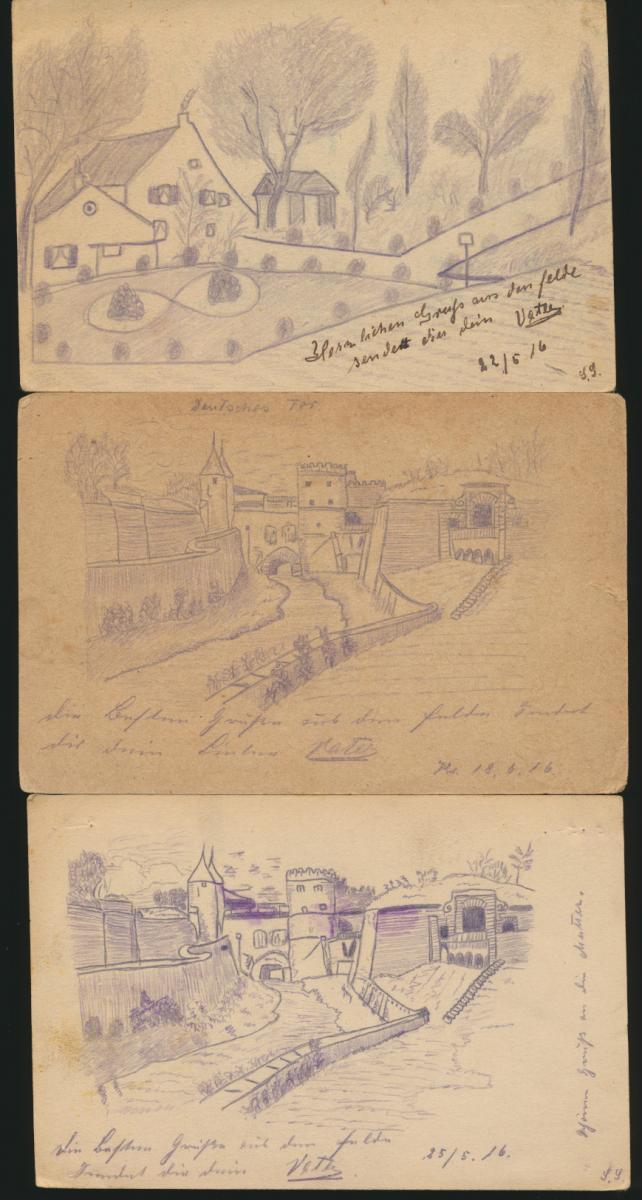11 Feldpost Ansichtskarten Regiment 15 alle handgemalt I. Weltkrieg nach Essen 4