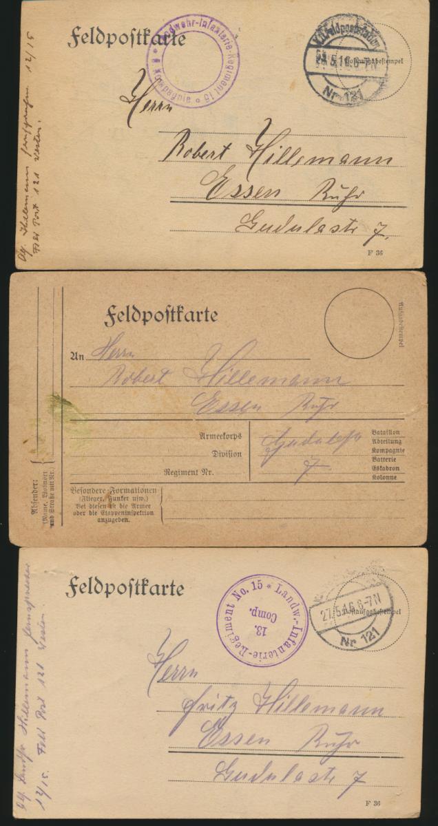 11 Feldpost Ansichtskarten Regiment 15 alle handgemalt I. Weltkrieg nach Essen 5
