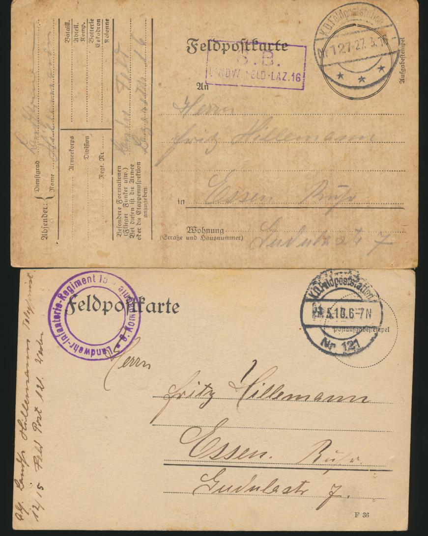 11 Feldpost Ansichtskarten Regiment 15 alle handgemalt I. Weltkrieg nach Essen 7