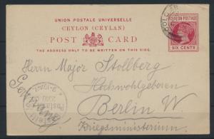 Ceylon Sri Lanka Ganzsache 39 a 6p Queen Victoria nach Berlin Kriegsministerium