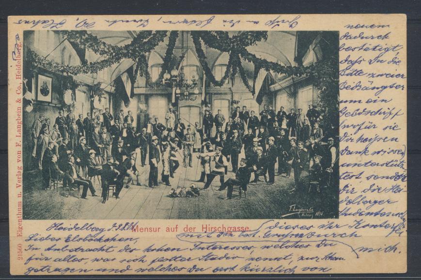 Künstler Ansichtskarte Heidelberg Mensur auf der Hirschgasse sign. Langbein 1898 0