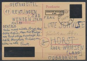 Französische Zone Würrtemberg Ganzsache Aufbrauchsausgabe P E 814 Tübingen
