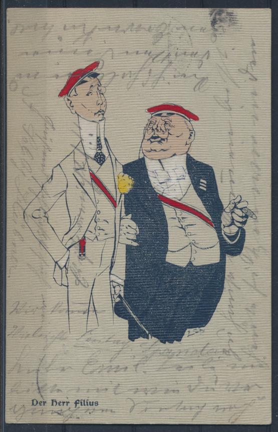 Ansichtskarte Studentika Der Herr Filius 1904 von Berlin nach Spandau 0